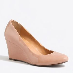 J. Crew Sylvia Patent Wedges in Bronzed Clay